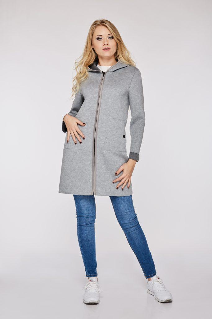 elegancki płaszcz damski z kaptuerm model sandra