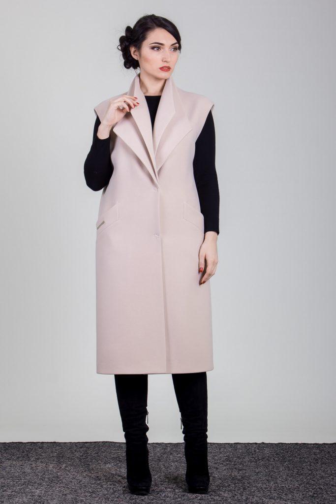 płaszcz damski długi bez rękawów